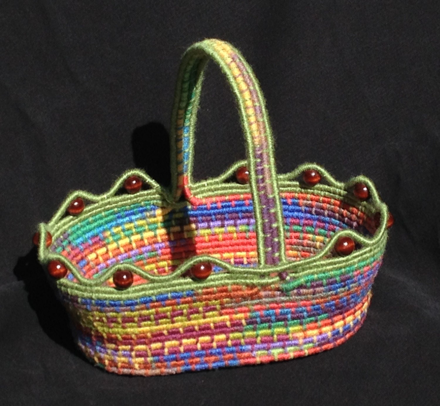 Handmade Rope Basket : Handmade coil basket multi color with handle