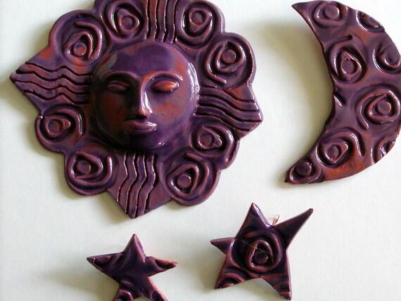 Sun Moon Amp Stars Wall Decor Ceramic Sun Moon And Stars