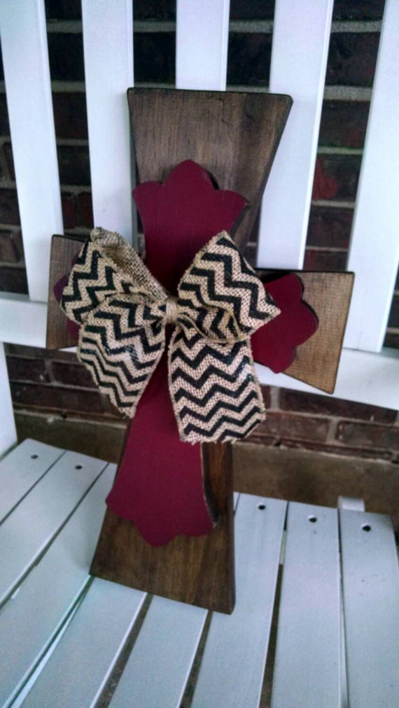 Items similar to Wall Hanging Stacked Crosses w/ Burlap ...