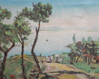 Antique oil painting lake view landscape
