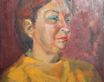 Female portrait vintage oil painting