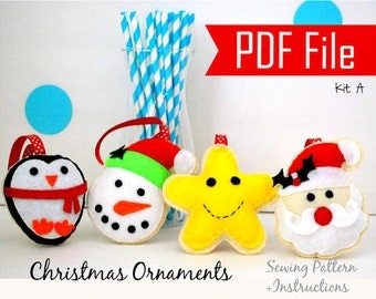 Felt Christmas Ornament Pattern, Pdf Sewing Pattern, Snowman, Santa Claus , Happy Star, Christmas Penguin- Set A Instant Download A868