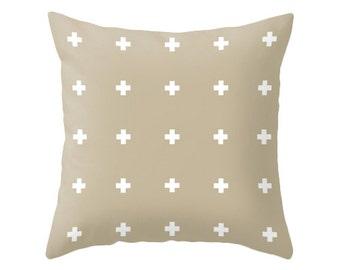 Beige Swiss Cross pillow cover Beige swiss cross pillow Beige cushion Beige throw pillow Beige cushion beige and white swiss cross lattehome