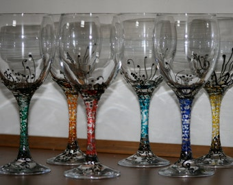 Hand Painted wine glasses, set of 6