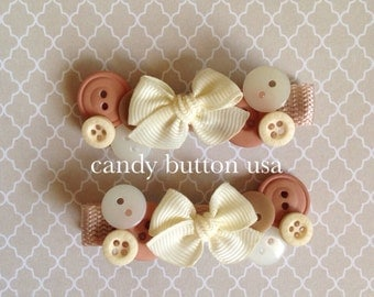 Buttons Hairclip * Beige Brown Hairclip * Baby Hairclip * Cute Girl Hairclip * Back To School Hairclip * Toddler Hairclip