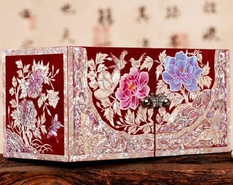 Mother of Pearl Lacquer Wood Jewelry Box Cosmetic Box Wedding Gifts Birthday gift with Flower and Bird Design