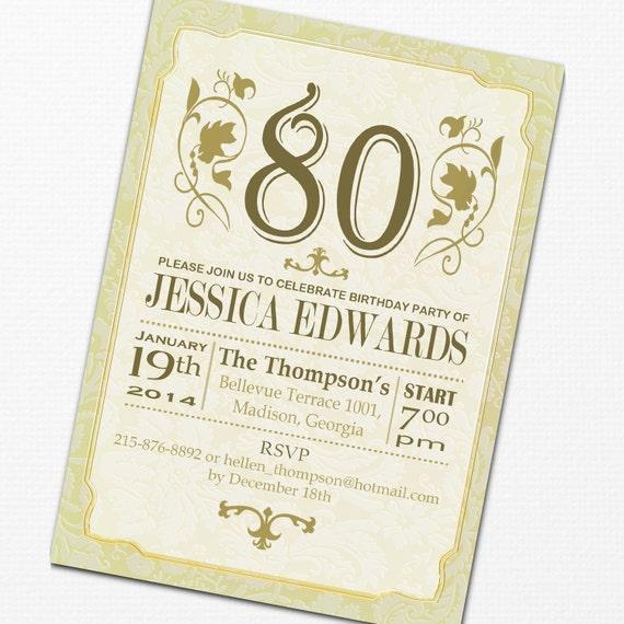 Elegant Adult Birthday Party Invitation / Gold White / Digital