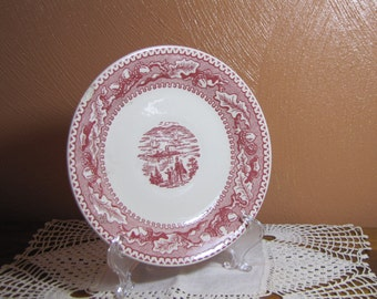 Vintage Red and White Plate