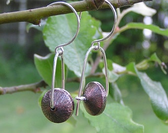 Copper Brushed Saucers Trapeze Earrings