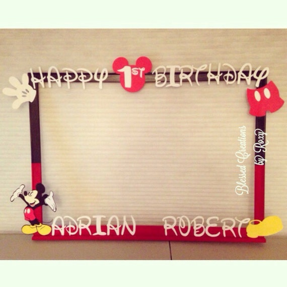 items similar to mickey mouse photobooth frame photo booth prop for any partyoccasion minnie mouse birthday photo frame photo booth frame decoration on - Mickey Mouse Photo Frame
