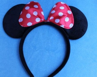 Red & White Bow Minnie Mouse Ears