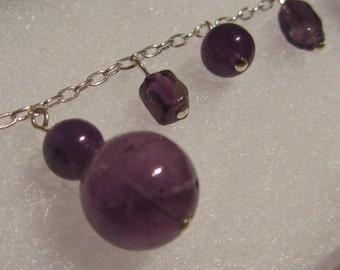 Sterling silver and amethyst gemstone charm bracelet, purple beaded bracelet, zodiac birthstone Aries Sagittarius Aquarius, healing bracelet