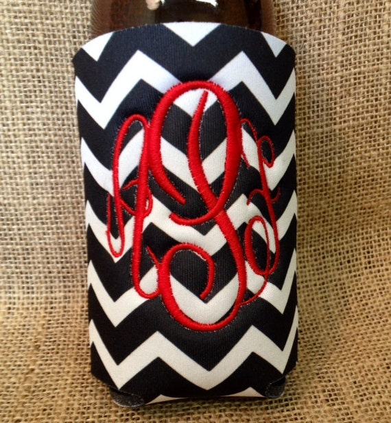 Monogrammed Can Sleeve, Personalized Beer Hugger, Monogrammed Gifts, Beer Gifts, Tailgate Party Favors, Black Chevron; Black and Red