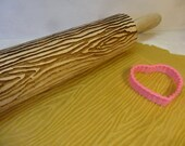Wood effect pattern impression  rolling pin and cookie cutter