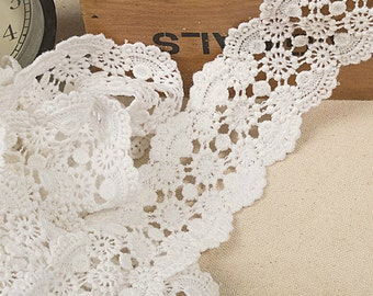 White Floral Lace Cotton Trim Embroidery Hollow Out Lace Trim 1.96 Inches Wide 2 Yards K016