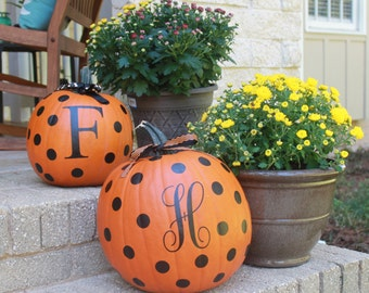 Decorate Your Own Pumpkin, Pumpkin Decal, DIY Initial and Dots Pumpkin Set - Ribbon Included!