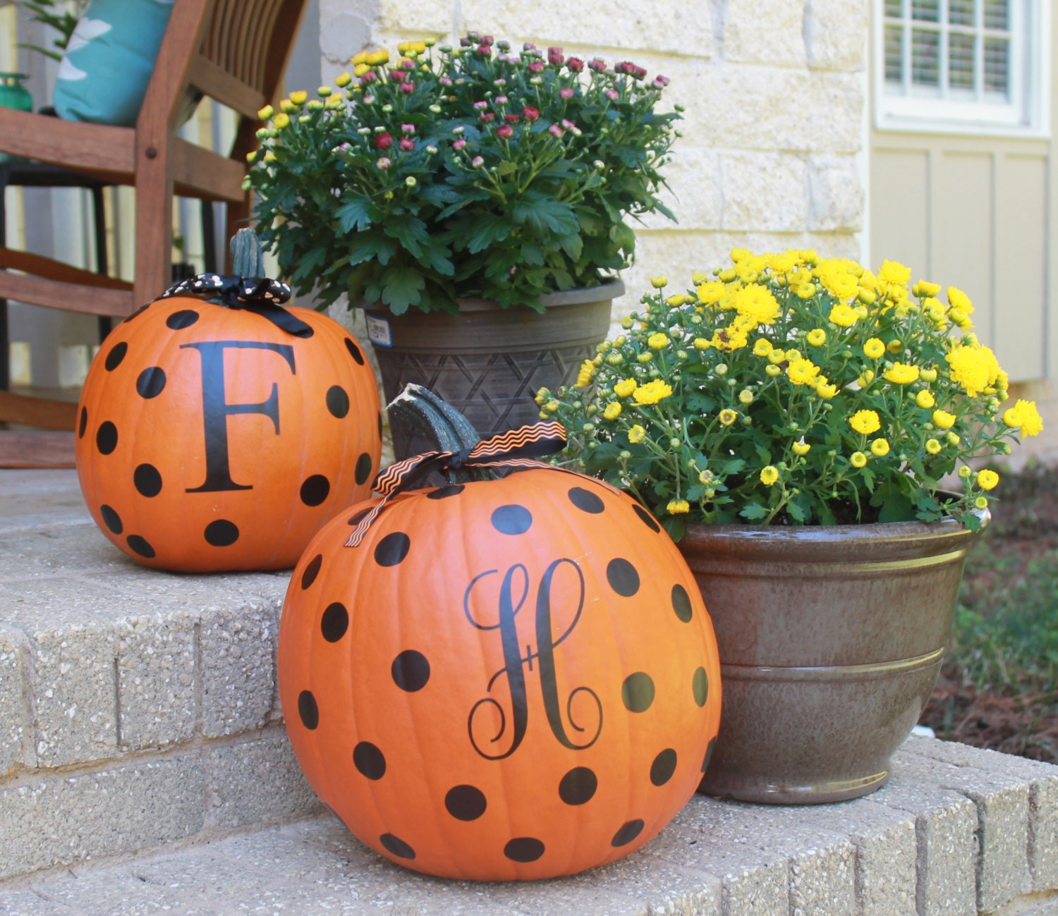 Decorate Your Own Pumpkin Pumpkin Decal Diy Initial And Dots