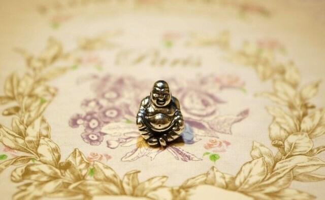 Pandora Charm, sterling silver, SMILING Buddha
