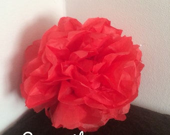 Pack of 2 pom-poms in red tissue paper