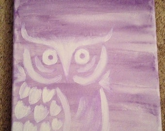 8' x 10' Watercolor and acrylic owl painting.