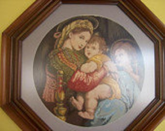 Handmade Needlepoint,Madonna De La Sedia , Price With Frame, Wedding Gift, Vintage Wiehler gobelin, Free Shipping, ready to ship