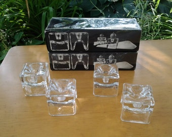 Danish Crystal Napkin Holders with a Candle Holder by Juhava Oy Helsinki No 6122 Made In Finland Ri-Jalka ~ MidCentury Modern