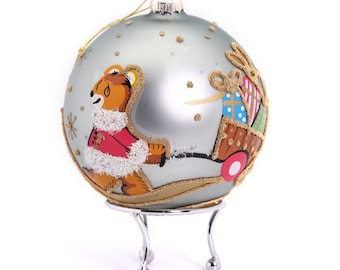 Blue Handpainted Glass Christmas Bear with Cart Bauble