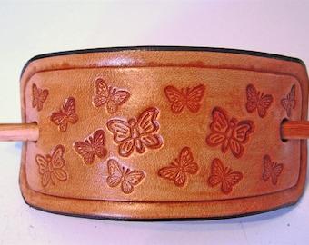 Antique Tan Oblong Butterfly Barrette