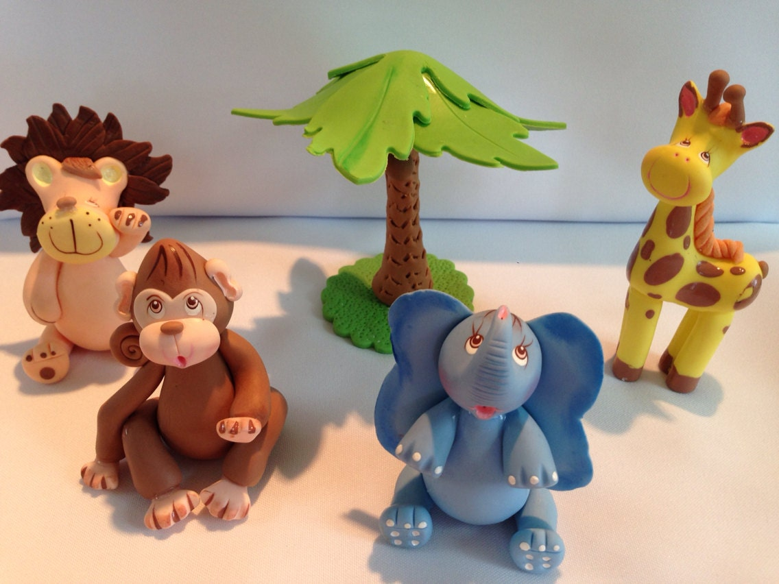 Jungle theme cold porcelain cake toppers