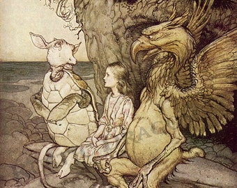 "Arthur Rackham ""That's very curious"""" 1907 Reproduction Digital Print Alice In Wonderland Turtle Griffin Alice"