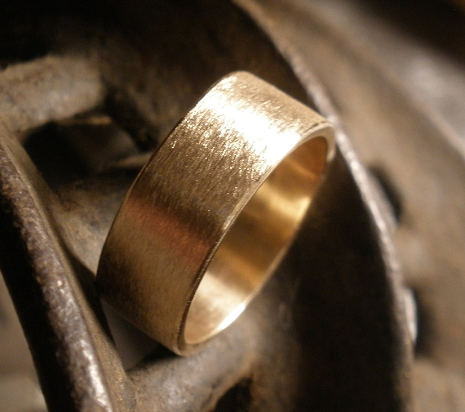 Bronze Wedding Band Simple Engagement Ring Rustic Handmade
