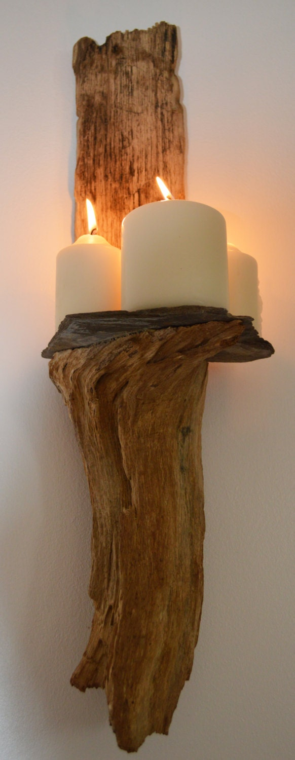 driftwood and slate wall sconce. Black Bedroom Furniture Sets. Home Design Ideas