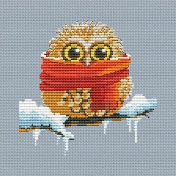Cross stitch pattern PDF - Owl with scarf