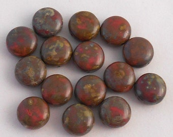 15 Czech  brown & pink  picasso glass beads, 10mm round puffy coin beads C5715