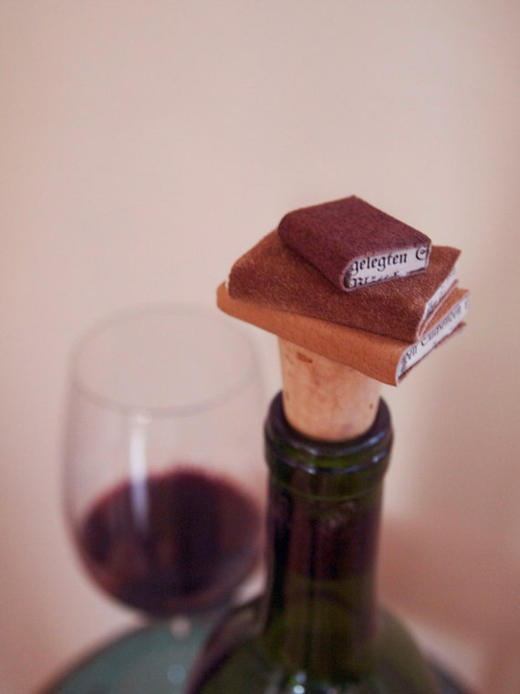 Handmade Leather Bound Book Wine Stopper