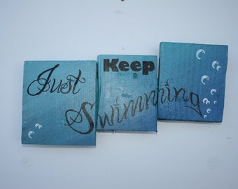 "Disney inspired ""Just Keep Swimming"" Pallet Art, Finding Nemo, Wood Sign, Wall Hanging, Upcycled, Wood Pallet, Hand Made, Reclaimed Wood"