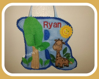 Personalised Capital Letter for Ryan with a Giraffe Theme