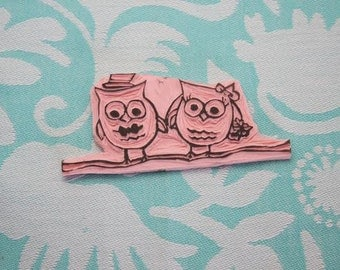 Handmade/Carved Rubber Stamps Cute Whimsical Wedding Owls
