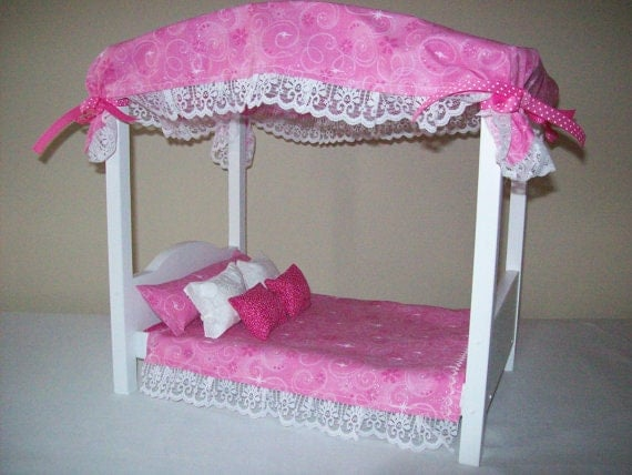 playscale himmelbett mit kompletten bettw sche set von dollsdelight. Black Bedroom Furniture Sets. Home Design Ideas