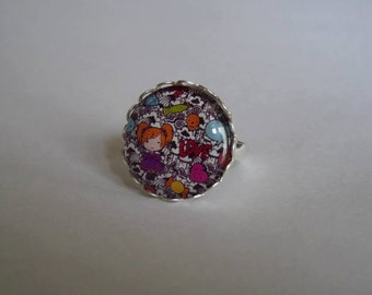 Adjustable ring cabochon 20mm kawaii