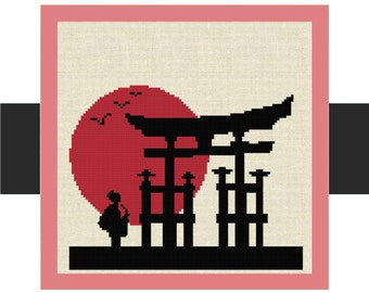 Counted Cross Stitch Pattern Chart, Japanese Woman in front of a Shrine