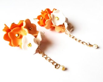 Ombre Orange Earrings ( polymer clay flower floral earrings gold earrings dangle long earrings floral bridal jewelry bridesmaid earrings )