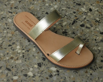 SALE SALE SALE Gold Leather Slip on Sandals
