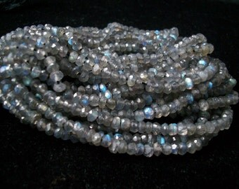 3.5mm Labradorite Faceted Beads rondelle, 100% Natural Labradorite Faceted Rondelle Beads, Labradorite micro faceted rondelles beads 13 inch