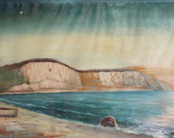 European art oil painting impressionist seascape seashore signed