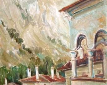 European art oil painting landscape mountain village