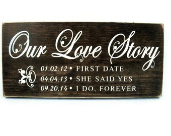 Wedding Sign Personalized Rustic Wood Plaque Gift Home Decor - Our Love Story (#1240)