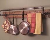 Items similar to reclaimed barn wood pot rack two level for Reclaimed wood pot rack