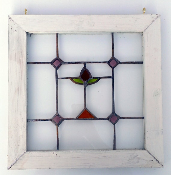 handmade stained glass window panel wood frame by petersinc