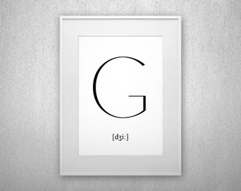 Typography Art Print - G - Letter poster - Printable - Wall Art